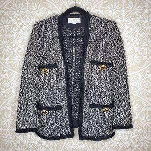 St. John Tweed Marled Fringe Jacket 4